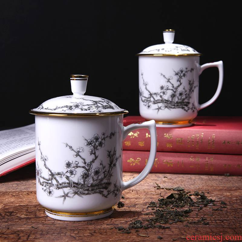 Red xin gold coloured drawing or pattern of jingdezhen ceramic ipads China tea cups with cover cup cup office and tea cups