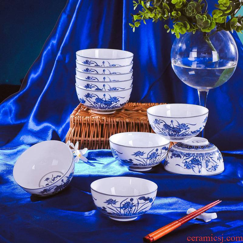 Red xin 6 rice bowls of blue and white porcelain porcelain jingdezhen ipads bowls small bowl bowl six loading