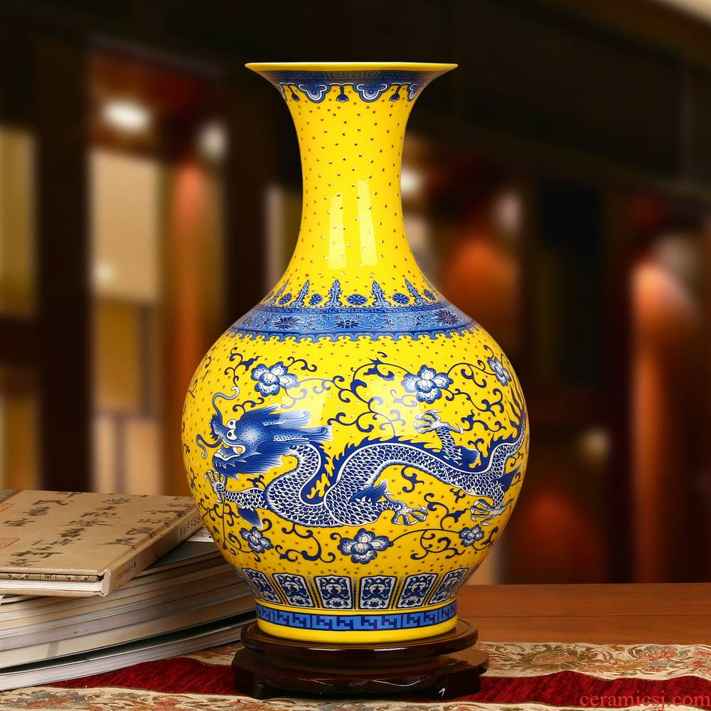 Jingdezhen ceramics high - grade enamel see colour yellow DeJin blue pearl dragon bottle of I and contracted household adornment furnishing articles