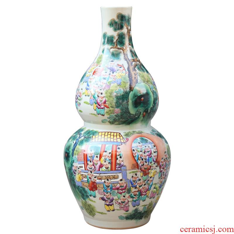 Jingdezhen ceramics hand - made pastel the ancient philosophers figure gourd bottle of large vases, modern classical household living room