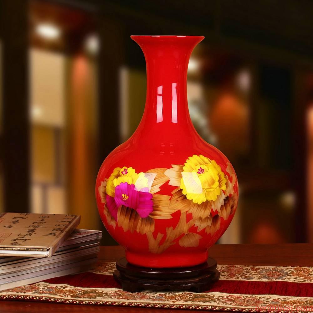 Jingdezhen ceramics China red peony flowers prosperous modern fashion vase happiness process decorative furnishing articles
