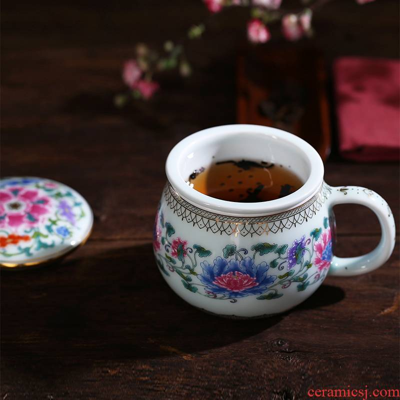 Red xin gold coloured drawing or pattern celadon teacup with cover cup ceramic filter glass office tea cup