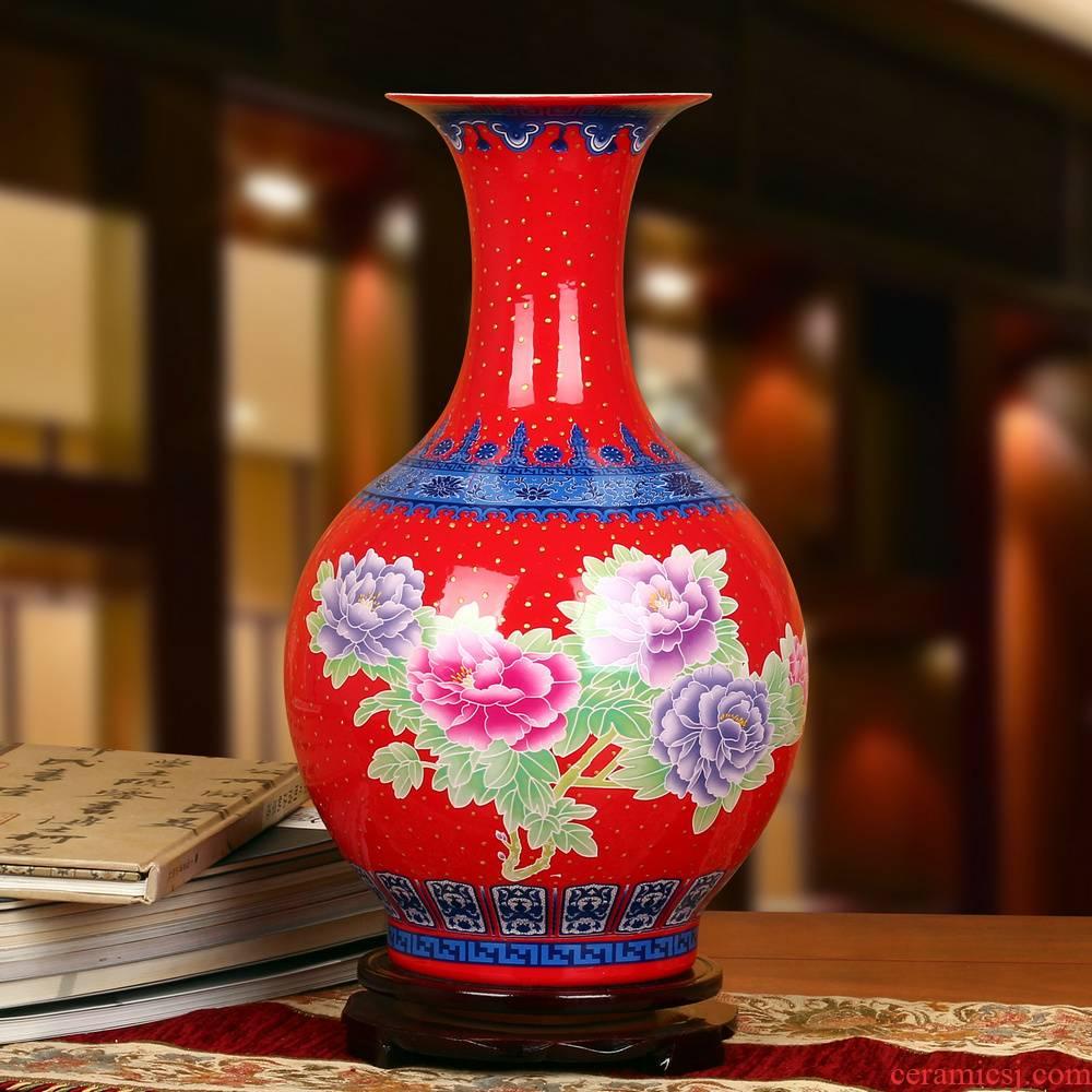 Jingdezhen ceramics high - grade enamel see China red peony prosperous golden vase modern Chinese style household furnishing articles