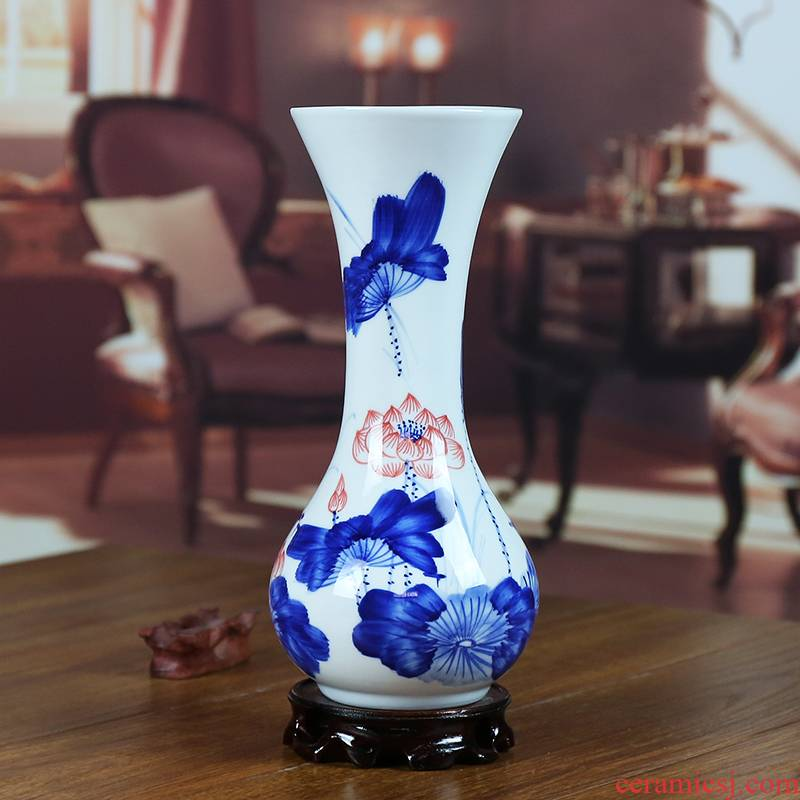 Jingdezhen ceramic vase furnishing articles living room blue and white flowers in I household contracted hand - made classical arts and crafts