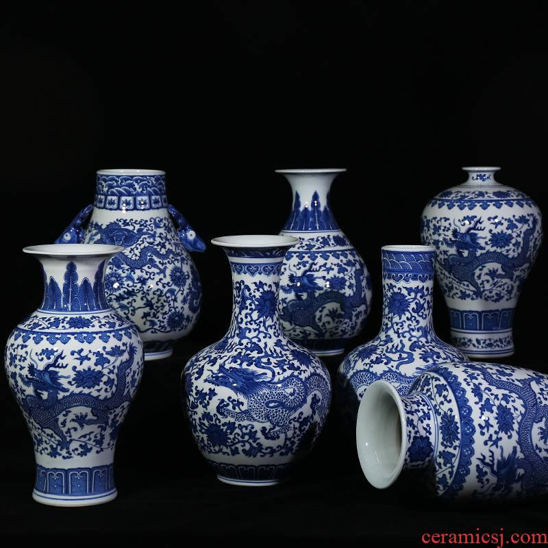 Jingdezhen ceramic vases, blue and white porcelain dragon I household contracted sitting room study place decorative arts and crafts