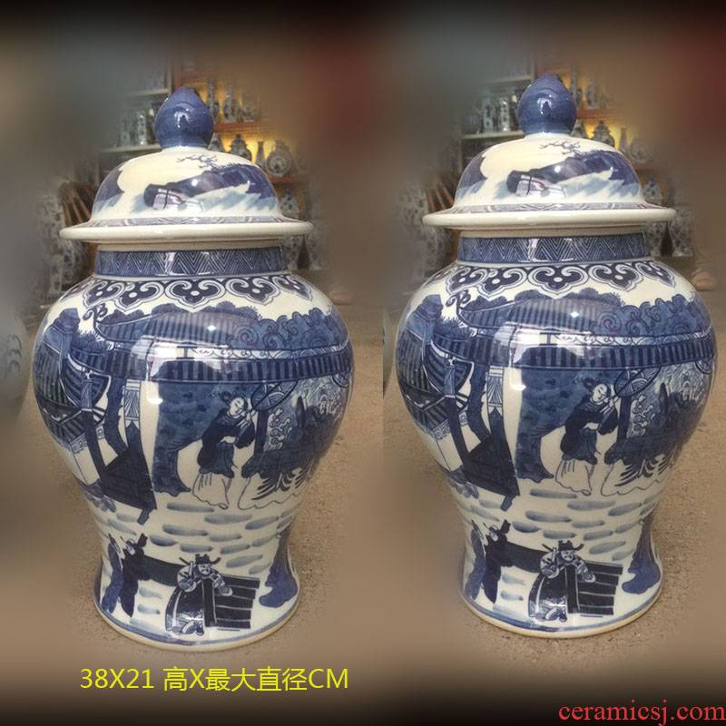 Jingdezhen porcelain 40 to 50 to 60 high general porcelain pot lady general war horse general character square tank