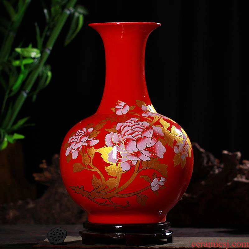Jingdezhen ceramics China red peony landing large vases, sitting room of Chinese style household furnishing articles craft supplies