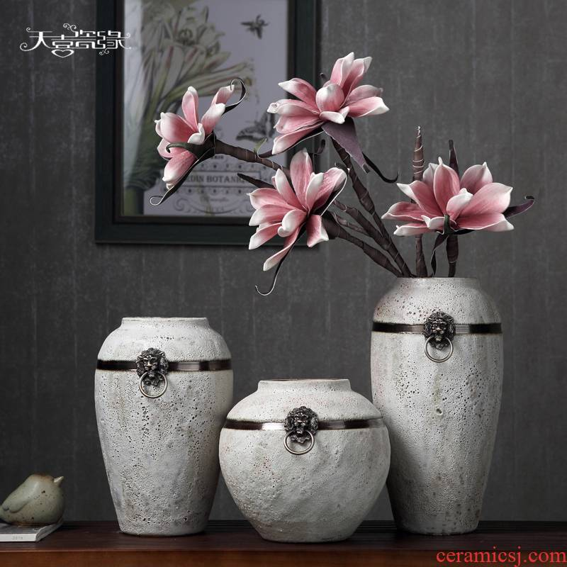 Sitting room of I and contracted dry ceramic vase household Japanese literary small pure and fresh and coarse pottery flower arranging machine accessories