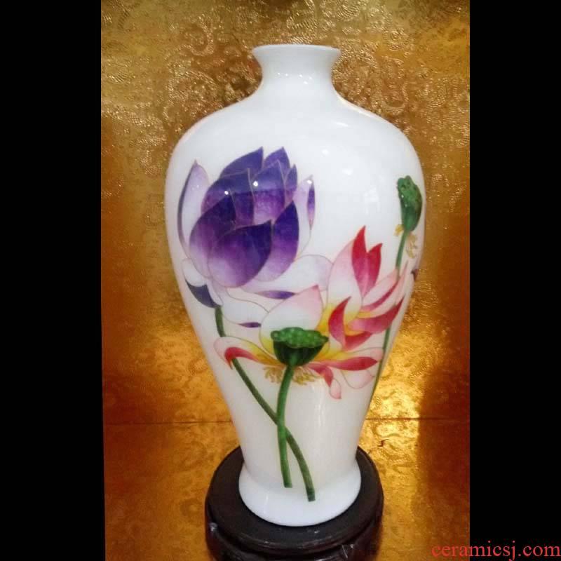 Jingdezhen art mesa high Bai Jing lotus lotus flower vase art furnishing articles porcelain vases, mei bottle