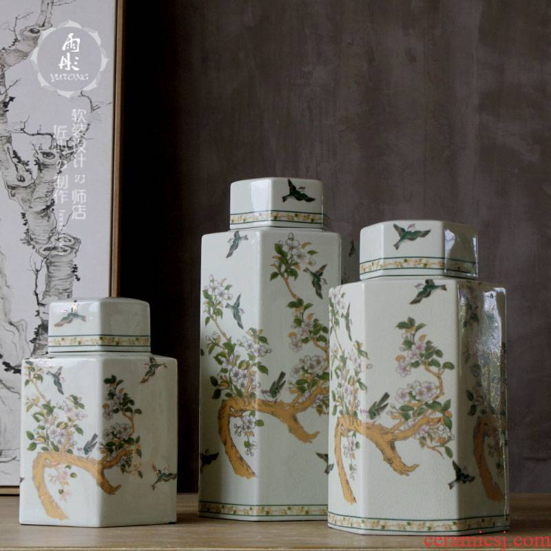 Rain tong home | painting of flowers and ancient pottery and porcelain of jingdezhen ceramic and ceramic pot branches furnishing articles to calving process