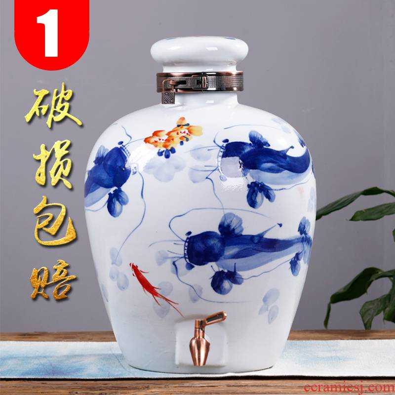 Creative 10 jins of liquor bottles of wine jar ceramic antique wine mercifully it household seal earthenware jar of 50 kg