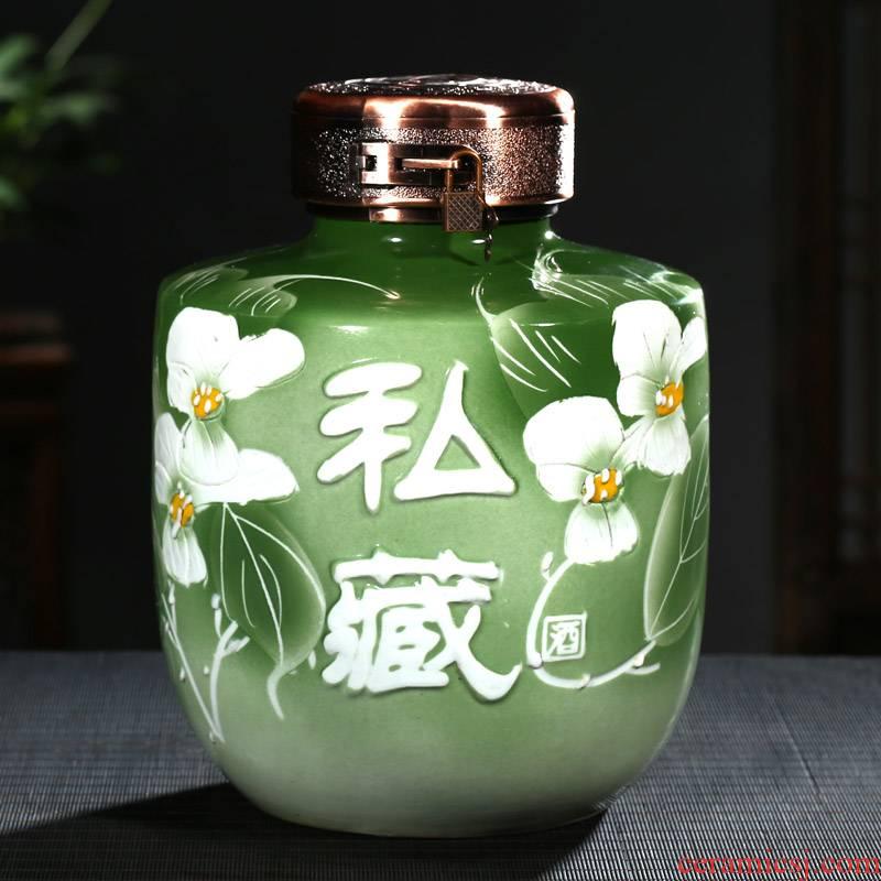 10 jins to jingdezhen ceramic jars carving possession of big bottle wine bottle wine altar wine furnishing articles to the lock
