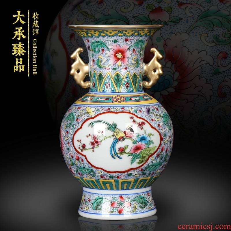 Chinese style classical jingdezhen ceramics small open the world flower gold furnishing articles pastel ears household decorative vase