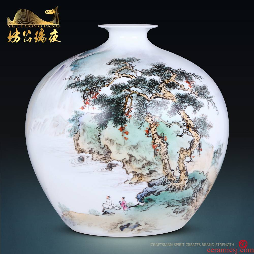 Jingdezhen ceramics furnishing articles hand - made scenery surd vase Chinese style household living room TV cabinet decoration decoration