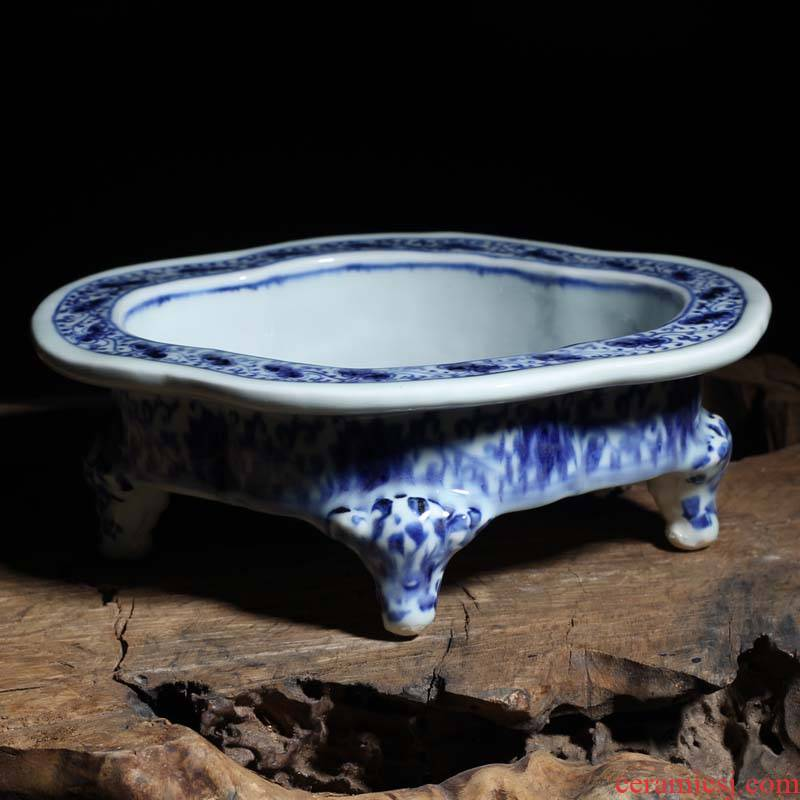 Jingdezhen abnormity four feet writing brush washer from classical ancient ceramic water up with oval compote