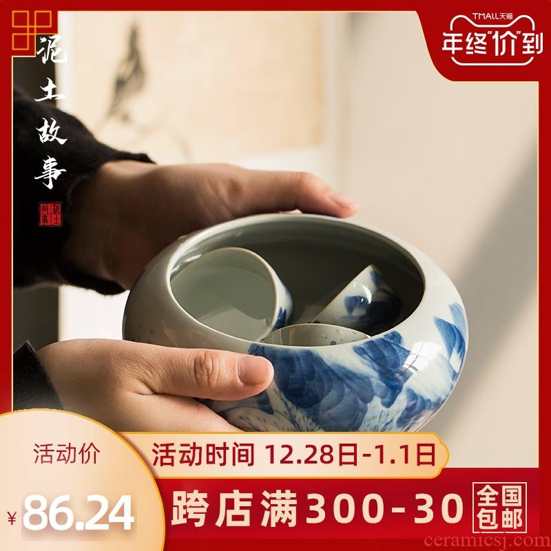 Chinese ancient celadon hand - made large tea in hot washing of cups to wash tank kung fu tea set ceramic tea taking of spare parts