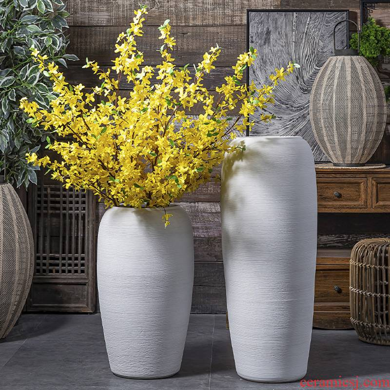 Jingdezhen ceramic big vase Nordic sitting room dry flower arranging flowers, white pottery decorative furnishing articles I and contracted landing