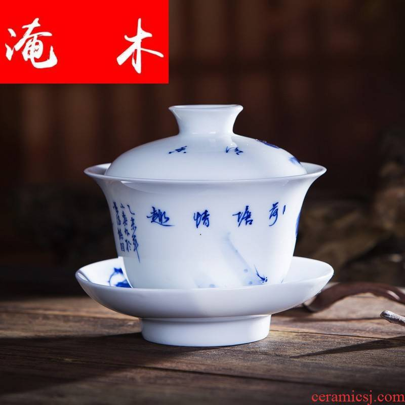 Submerged wood hand - made jingdezhen blue and white tea under the glaze color high white porcelain kung fu tea bowls three to worship the teacup