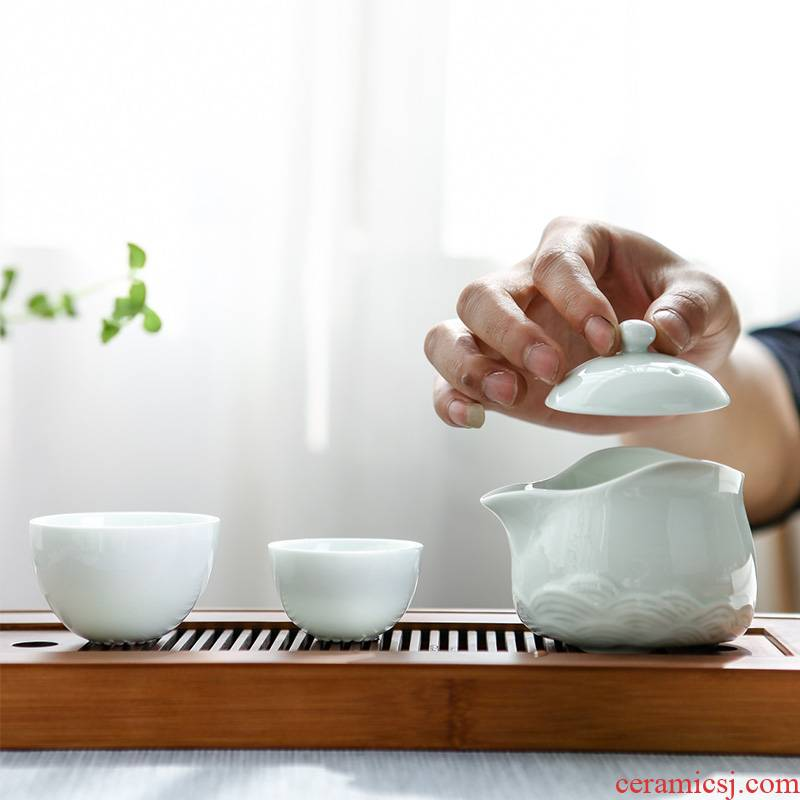 Poly real landscape is suing travel tea set home portable a pot of two cups of jingdezhen ceramic teapot
