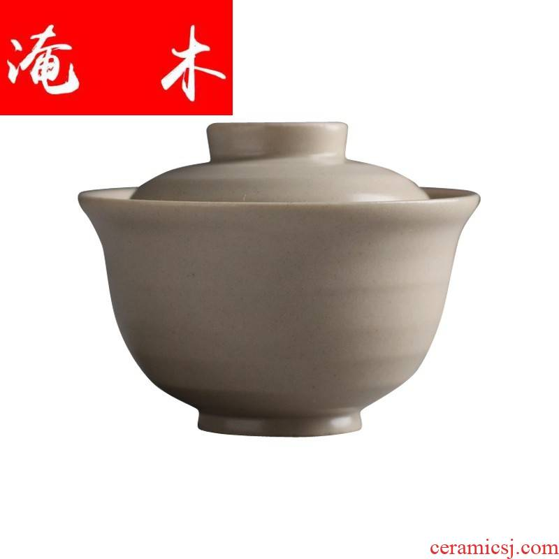 Flooded jingdezhen Japanese antique wood plant ash checking ceramic kung fu tea set cream - colored tureen 00 ml simple but elegant tea