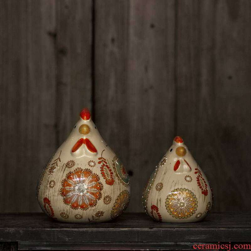 Ceramic furnishing articles hand - made famille rose porcelain goo goo chicken chicken to chicken furnishing articles furnishing articles ceramics creative do old act the role ofing