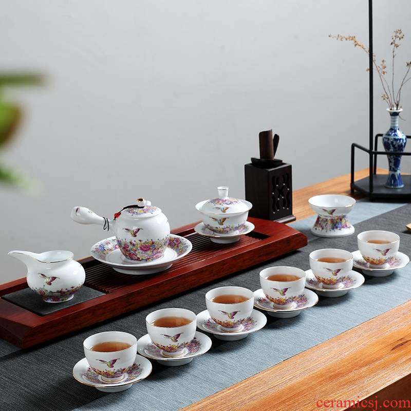 Qiao mu was suit household kung fu tea set jingdezhen ceramic tea pot porcelain of a complete set of tea cups