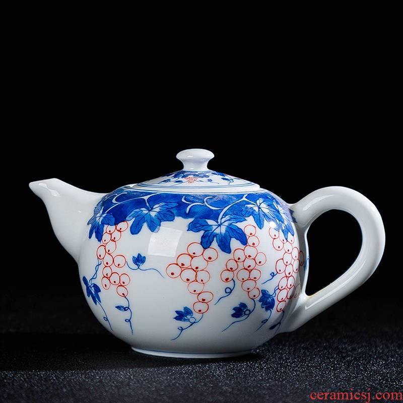 Single pot of jingdezhen ceramic teapot kung fu tea set white porcelain tea little teapot