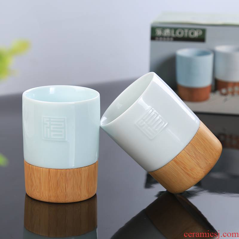 Ceramic cups lottery tea cup bamboo office master individual cup kung fu tea set single cup sample tea cup fragrance - smelling cup
