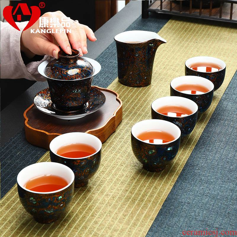 Recreation quality lacquer tea sets Chinese lacquer gifts of a complete set of tea sets bright stars dehua white porcelain tea set