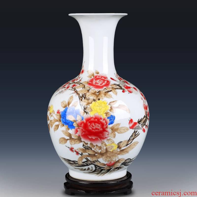 Jingdezhen ceramics powder enamel vase furnishing articles sitting room flower arrangement in modern Chinese style household decorative arts and crafts