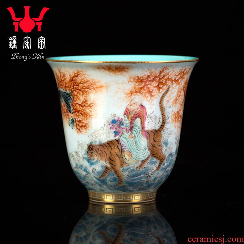 Clock home up with jingdezhen ceramic sample tea cup special high - grade men 's individual all hand alum red paint ocean' s dragon