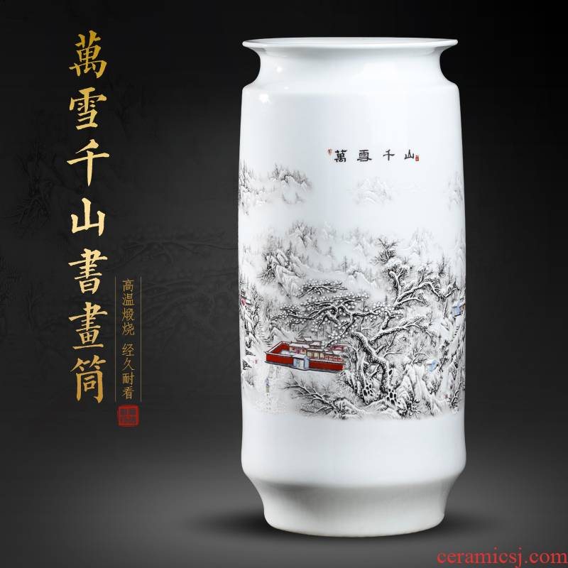 Jingdezhen ceramics pastel landscape vases, flower arranging place of new Chinese style living room painting and calligraphy receive scrolls cylinder barrels