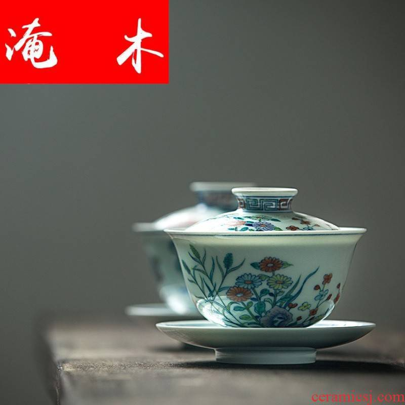 Flooded the wooden bucket capacity up tureen ceramic large hand - made jingdezhen manual enamel three bowl of tea set