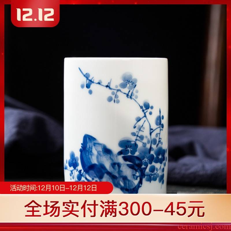 Folk artists hand - made bamboo master of blue and white porcelain cup single CPU jingdezhen ceramic household large ultimately responds a cup of green tea