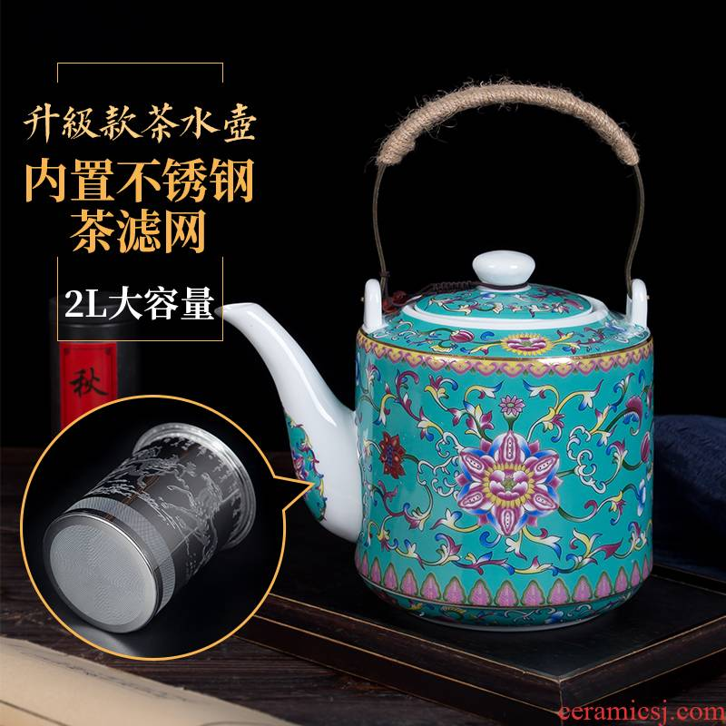 Cool ceramic kettle household of Chinese style old antique teapot high - temperature large capacity of the teapot colored enamel kettle