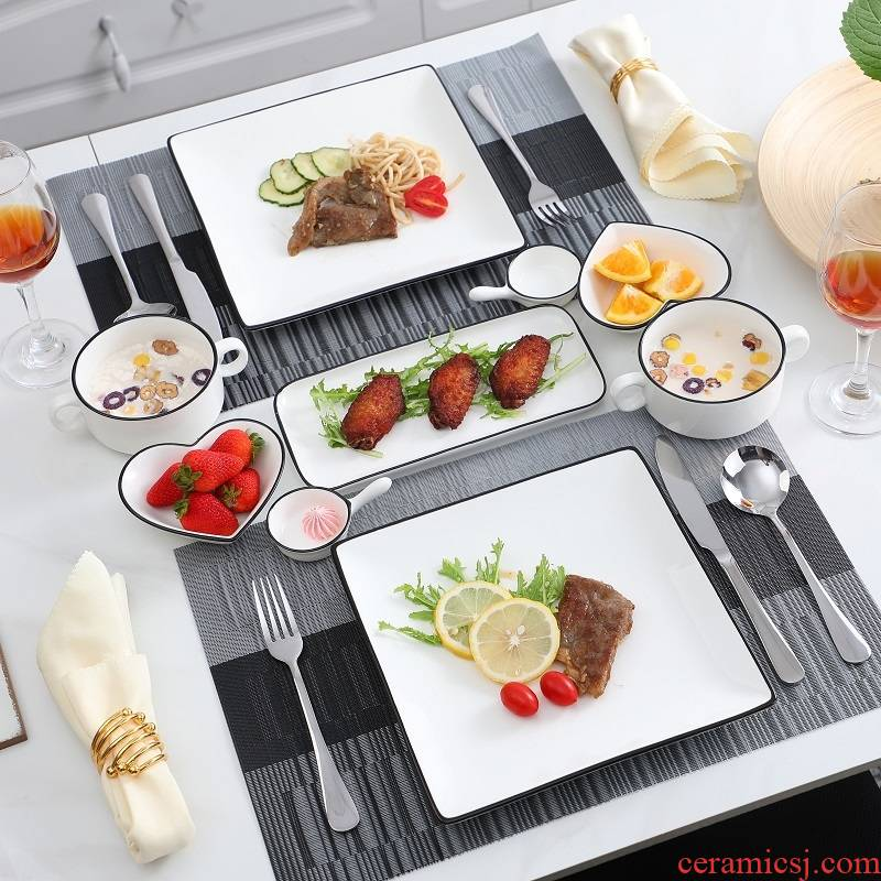 Eat western - style food tableware steak knife and fork dish suit European ceramics steak lovers home dinner plate full