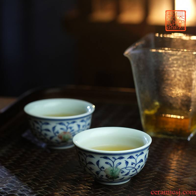Offered home - cooked long up in blue and white youligong tangled branches grain making those hand - made teacup jingdezhen ceramic tea set by hand