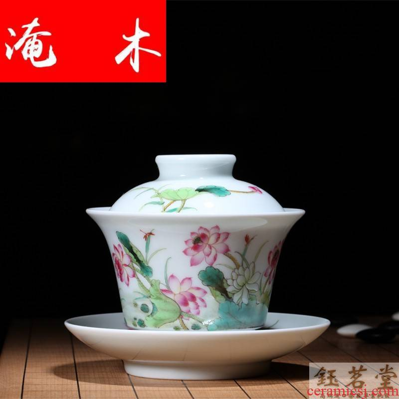 Flooded wood already mingyuan tea set # jingdezhen Ming in the qing dynasty hall jun hand - made pastel lotus tureen the spring breeze