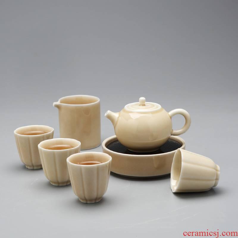 Jingdezhen agate glaze kung fu tea set teapot teacup home sitting room ceramic water tea tray was small cups