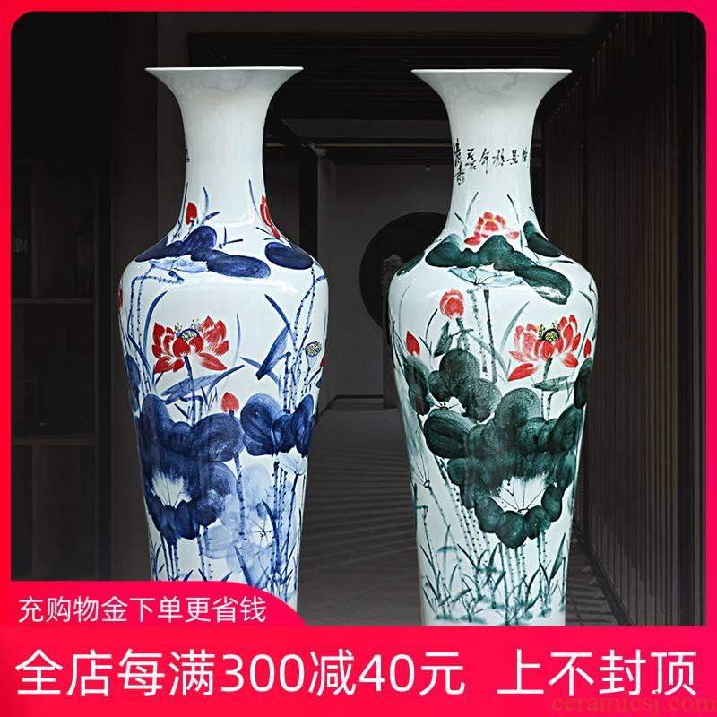 Jingdezhen ceramic floor big sitting room place of blue and white porcelain vases, antique hand - made lotus hotel decorative vase
