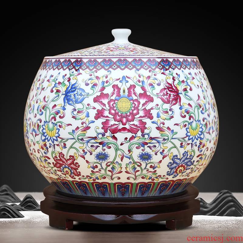 Jingdezhen ceramics new Chinese style tea pot storage tank handicraft furnishing articles sitting room porch office decoration