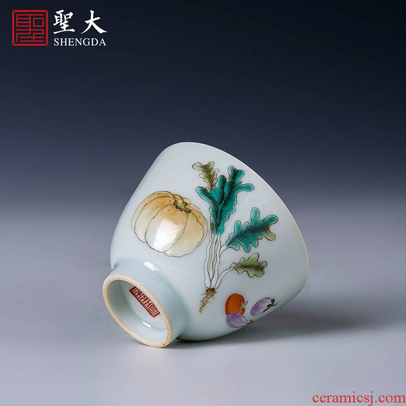 Holy big cup sample tea cup manual hand - made ceramic kungfu pastel fruits and vegetables grain masters cup of jingdezhen tea service by hand