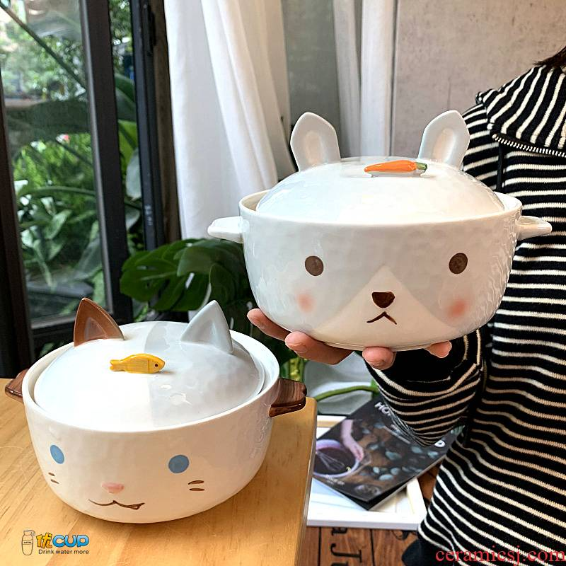 Express cartoon mercifully rainbow such as bowl with cover ceramic creative easy to clean Korean students dormitory tuba li riceses leave of my ears