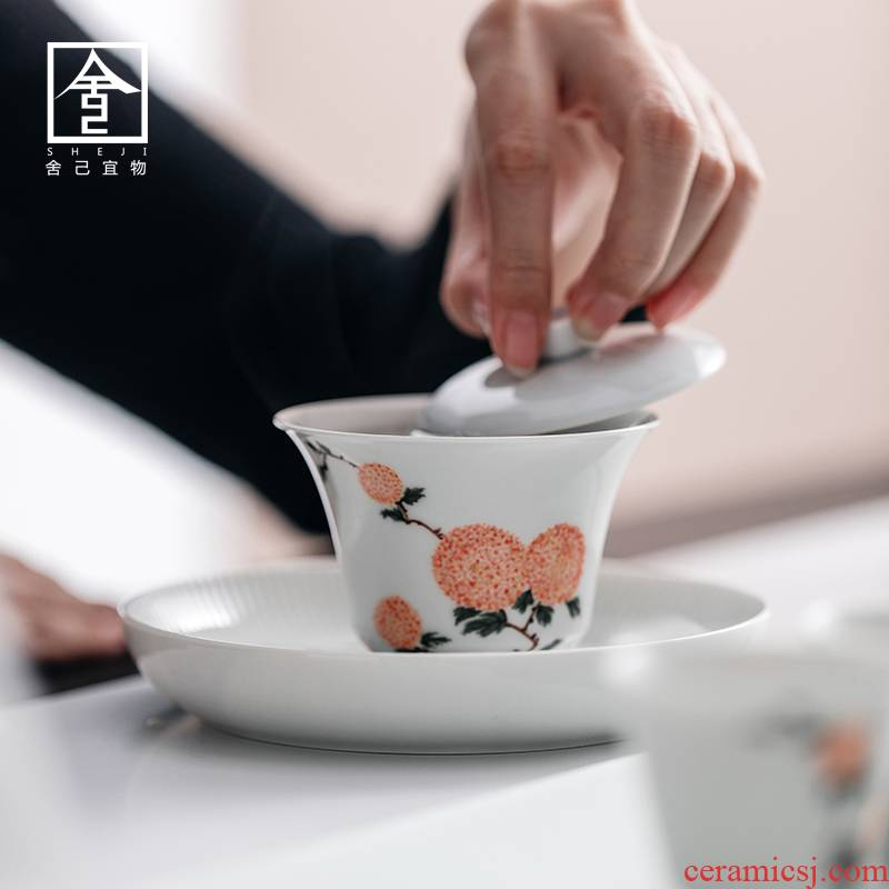 """The Self - """"sees appropriate content of jingdezhen manual hand - made tureen single CPU use Japanese white porcelain GaiWanCha cups"""