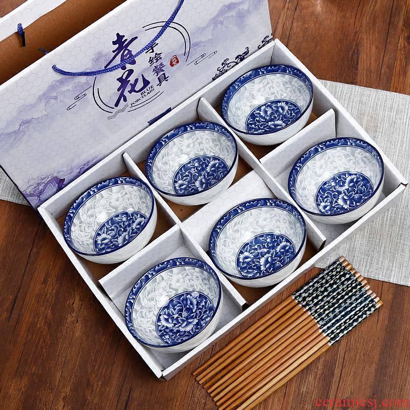 Blue and white porcelain bowls set wholesale ceramic bowl bowl to eat rice bowl set household tableware chopsticks sets gift gift boxes