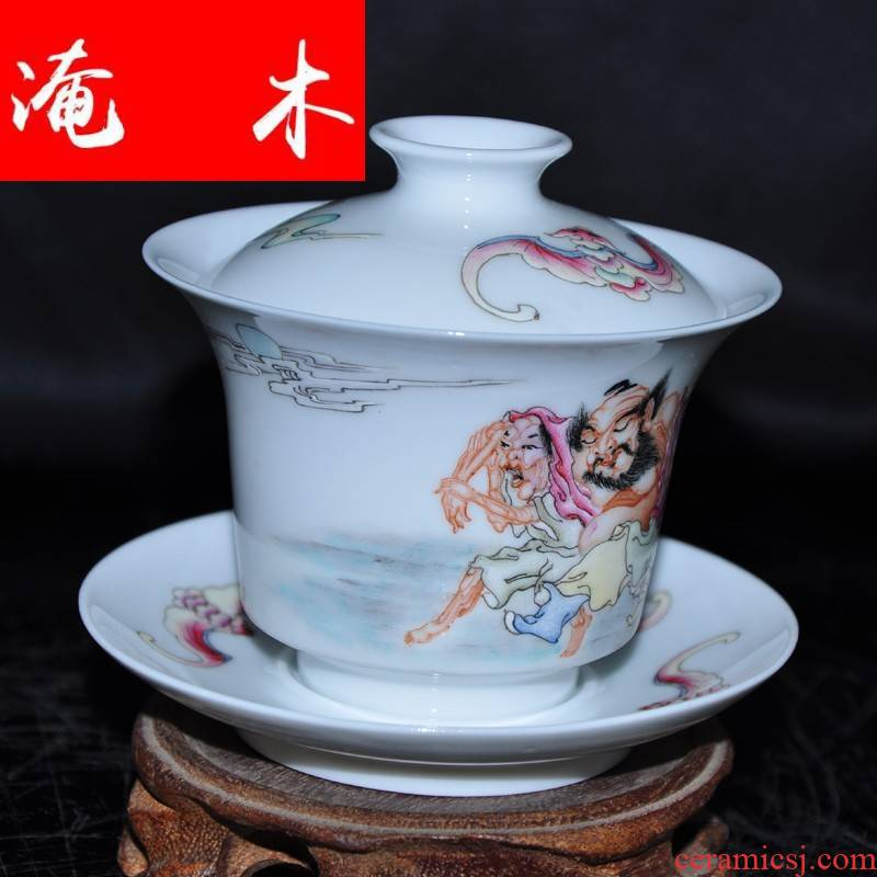 Flooded, the rhyme of jingdezhen hand - made famille rose porcelain tea tureen only three cup Jin Hongxia hand bowl CWJ