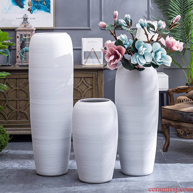 Jingdezhen coarse pottery Nordic white vase of large sitting room dry flower arranging flowers decorative furnishing articles contracted and I wind