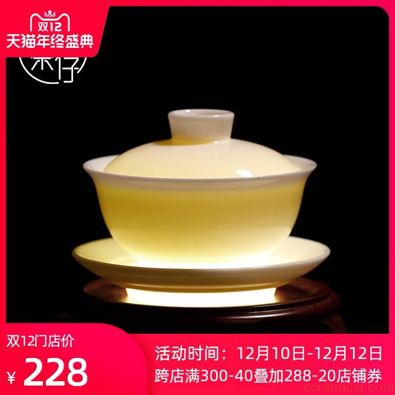 Kung fu tea tureen of pottery and porcelain teacup high dehua white porcelain bowl with thin body only three tureen tea bowl of tea
