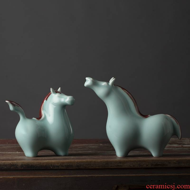 Green glaze furnishing articles about horse process of new Chinese style household adornment of jingdezhen ceramic horse household act the role ofing is tasted furnishing articles ceramics