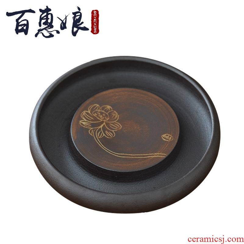 (niang ceramic pot bearing pot doesn water dry 'tea tea tray was Japanese rust glaze antique lotus round